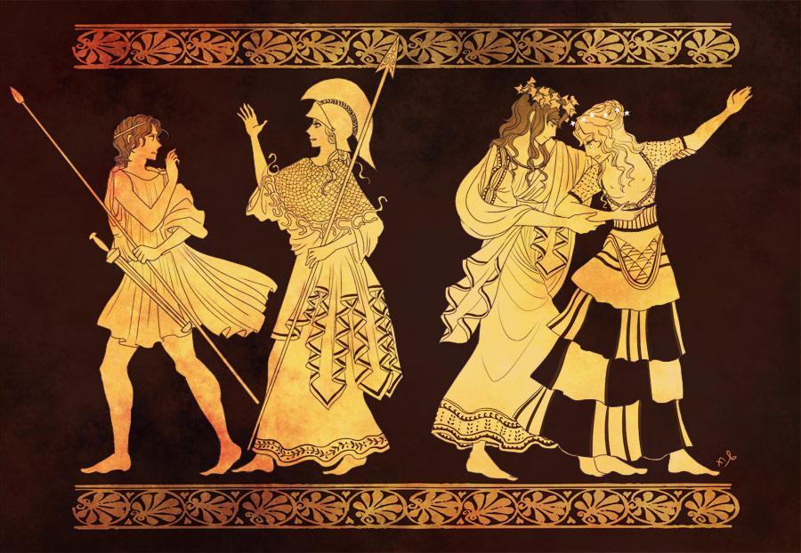 """ふたば on Twitter: """"久しぶりにギリシア神話お絵描き。好きな壷絵の ..."""