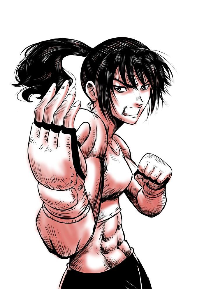 玉屋一心 On Twitter 構える女性格闘家を描いてみました 創作