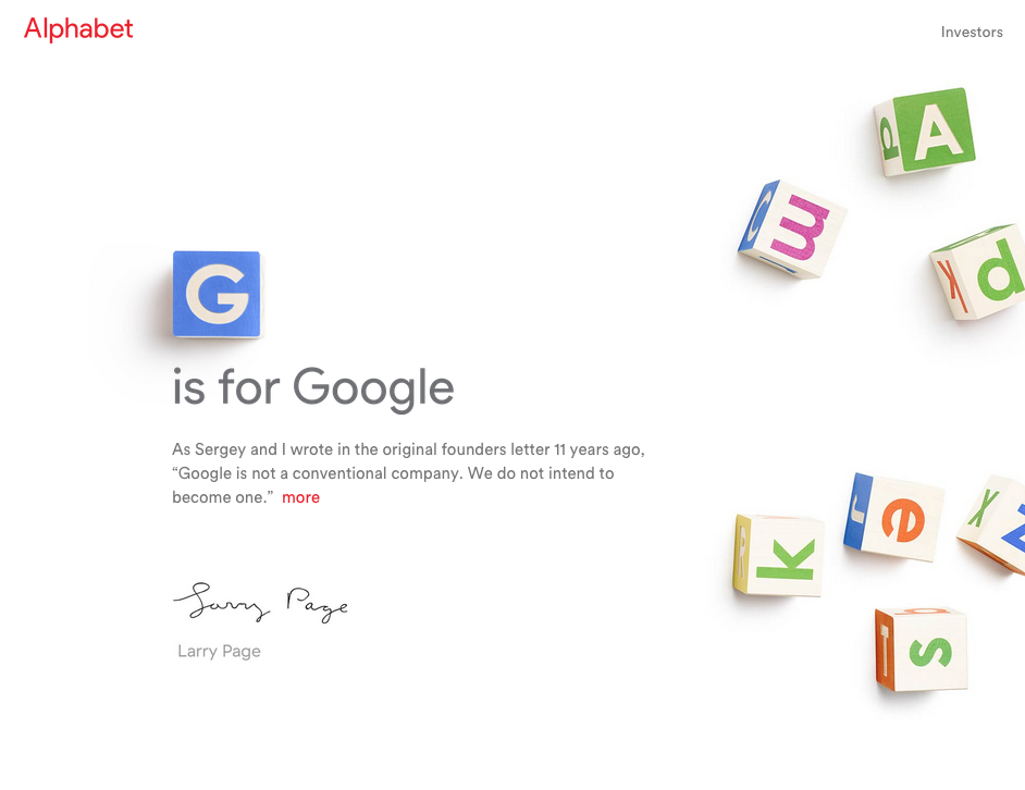 This Google restructuring is so interesting. Google now owned by Alphabet http://t.co/wQboDKvo5z http://t.co/XkRotCM0FR