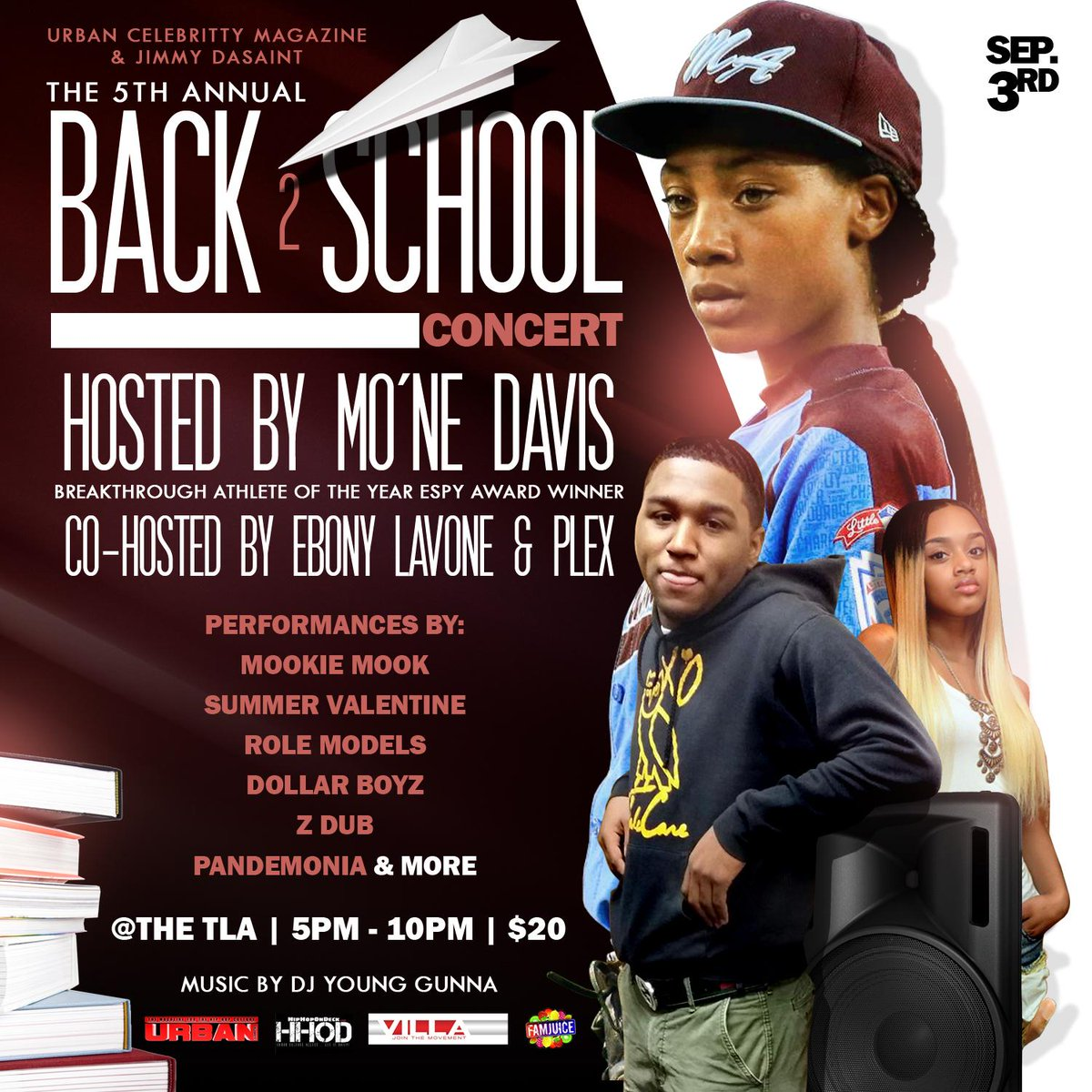 @urbanceleb215 presents the 5th annual Back 2 school concert @TLAPhilly Sept 3rd hosted by Mo'ne Davis @ebonylavone http://t.co/yTRBEe659B