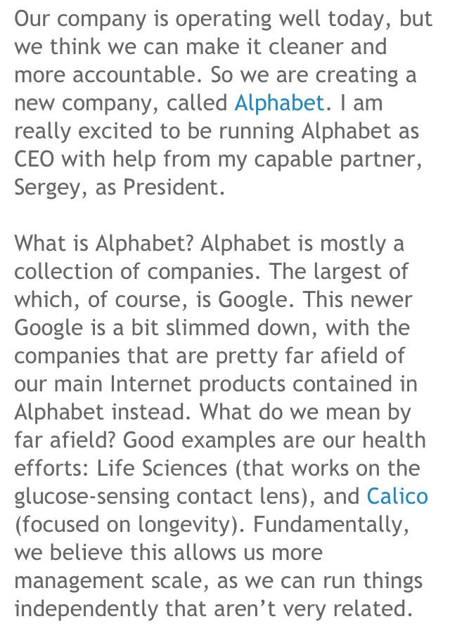 قوقل تغير اسمها إلى (ألفابت)! خبر صادم وتغييرات جذرية داخل الشركة   الخبر:  http://t.co/JXxRciMW4o   . http://t.co/tfNkiUWDvV