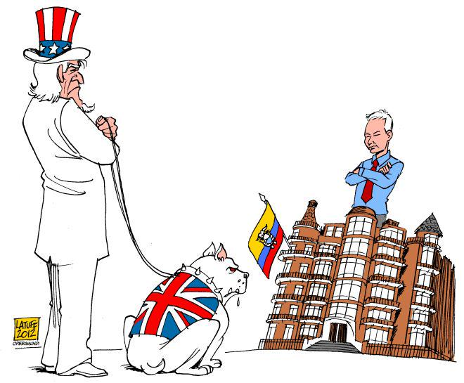 "Carlos Latuff on Twitter: ""Julian Assange and the U.S. watchdog! Via  @operamundi cc @wikileaks http://t.co/I9p12rfSXH"""
