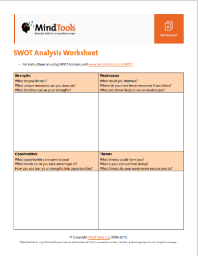 Swot Analysis Worksheet - Templates and Worksheets