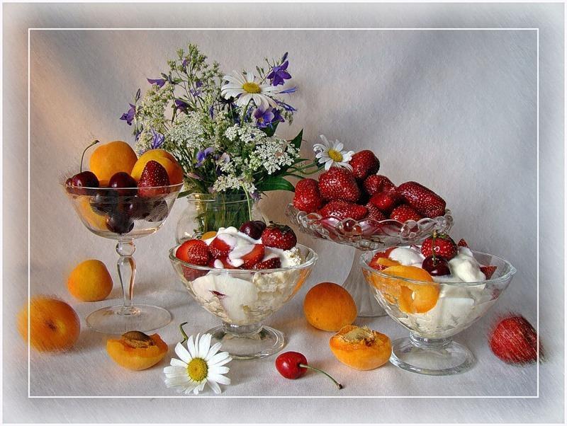 Открытки с фруктами и цветами с добрым утром