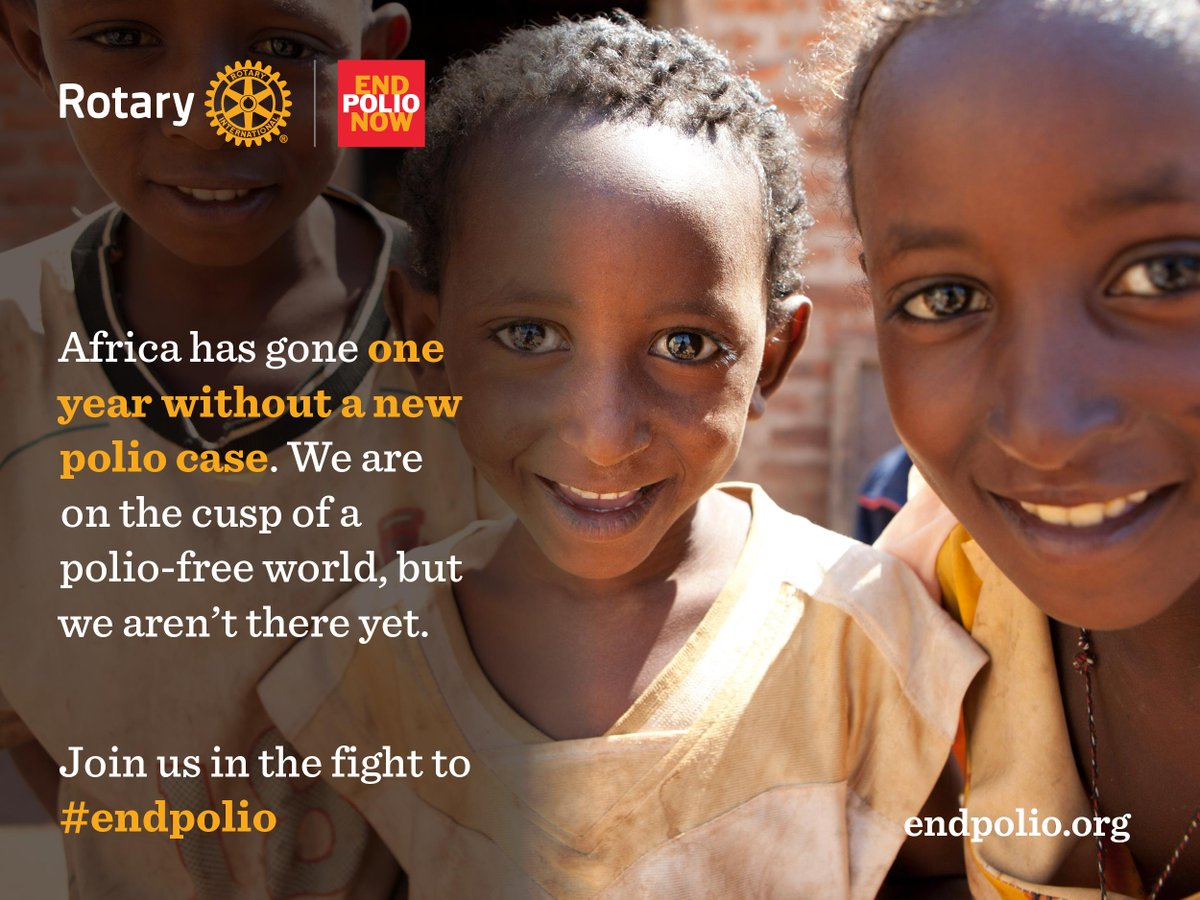 Today marks 1 year without polio in Africa. Together we'll reach a polio-free world. #endpolio http://t.co/EbysLsARsz http://t.co/M3OvrVdexN
