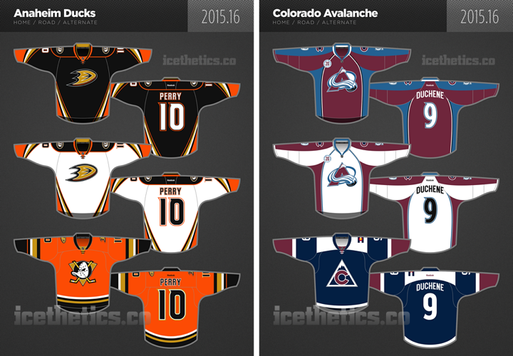 SNEAK PEEK! Check out the new #Ducks and #Avs 3rd jersey designs!  BLOG: http://t.co/L2PRabziRD // http://t.co/6WfsmUy2AW