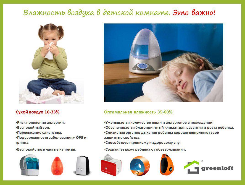 Если влажность воздуха в квартире меньше допустимой, что очень часто бывает в отопительный сезон и в летнее время, необходимо приобрести увлажнитель.