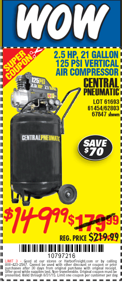 """harbor freight tools on twitter: """"get this 21 gal. 2.5 hp 125 psi ..."""