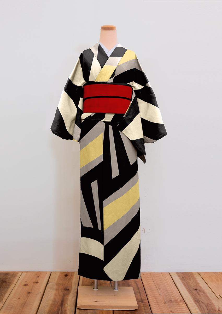 ダズル迷彩(第一次世界大戦時の船に施されたカモフラージュ塗装)のパターンを引用して着物作ります。2枚目。  #kimono http://t.co/o8pyHuJCNY