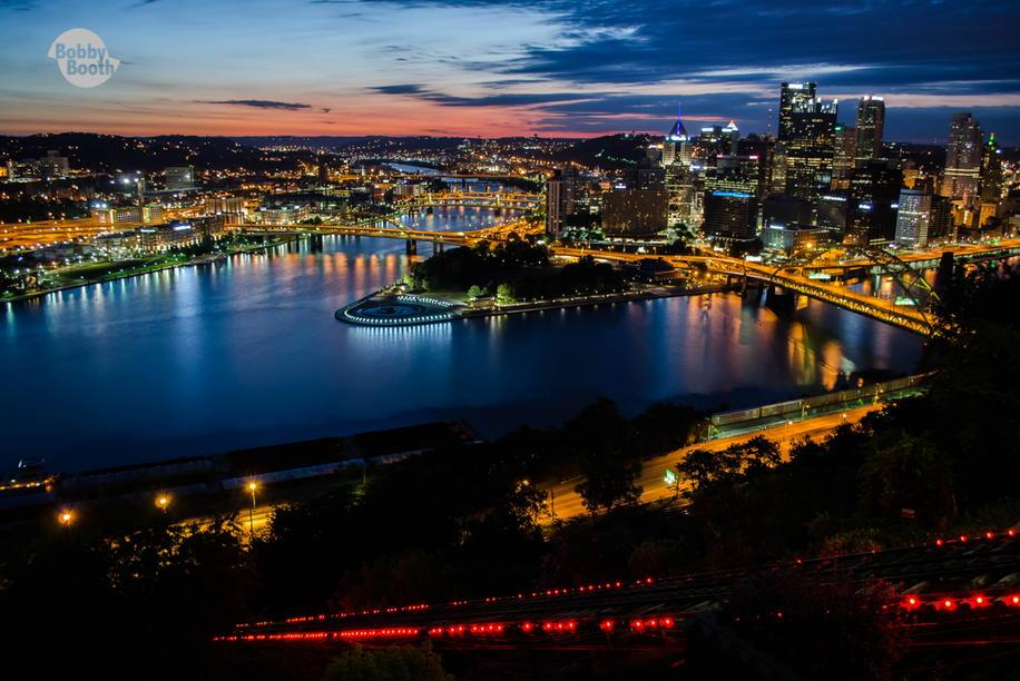 #Pittsburgh night lights stay shining, as the early morning sun slowly rises from behind. http://t.co/noCEr40L8W
