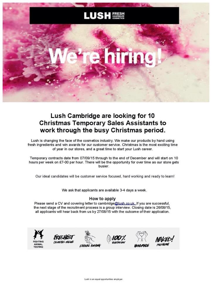 Lush cambridge on twitter lush cambridge are hiring for Lush cover letter examples