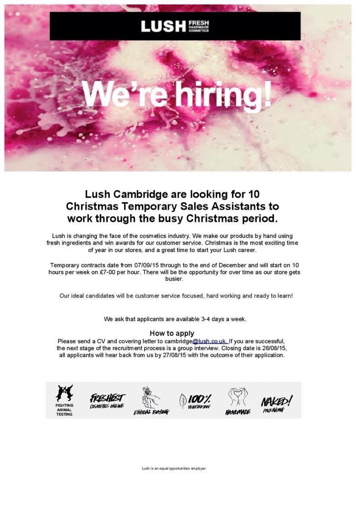 lush cover letter examples - lush cambridge on twitter lush cambridge are hiring