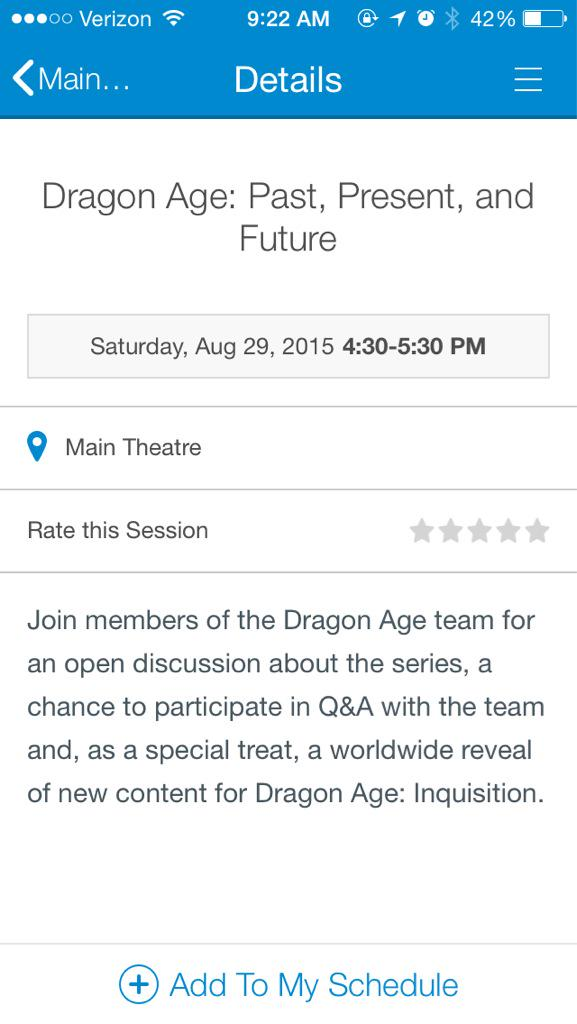 BioFanOfficial screenshot of PAX mobile app: Dragon Age: Inquisition worldwide content reveal!