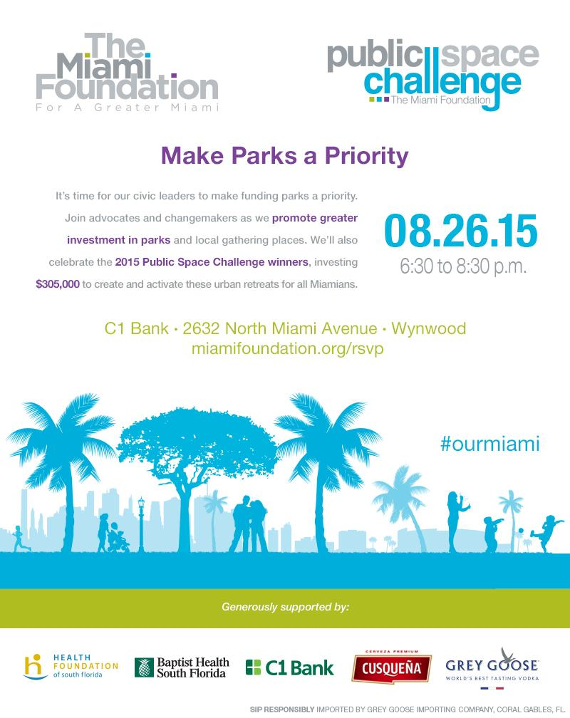 """Join The @MiamiFoundation to """"make parks a priority"""" on August 26th at C1 Bank in Wynwood. #MiamiRiverGreenway"""