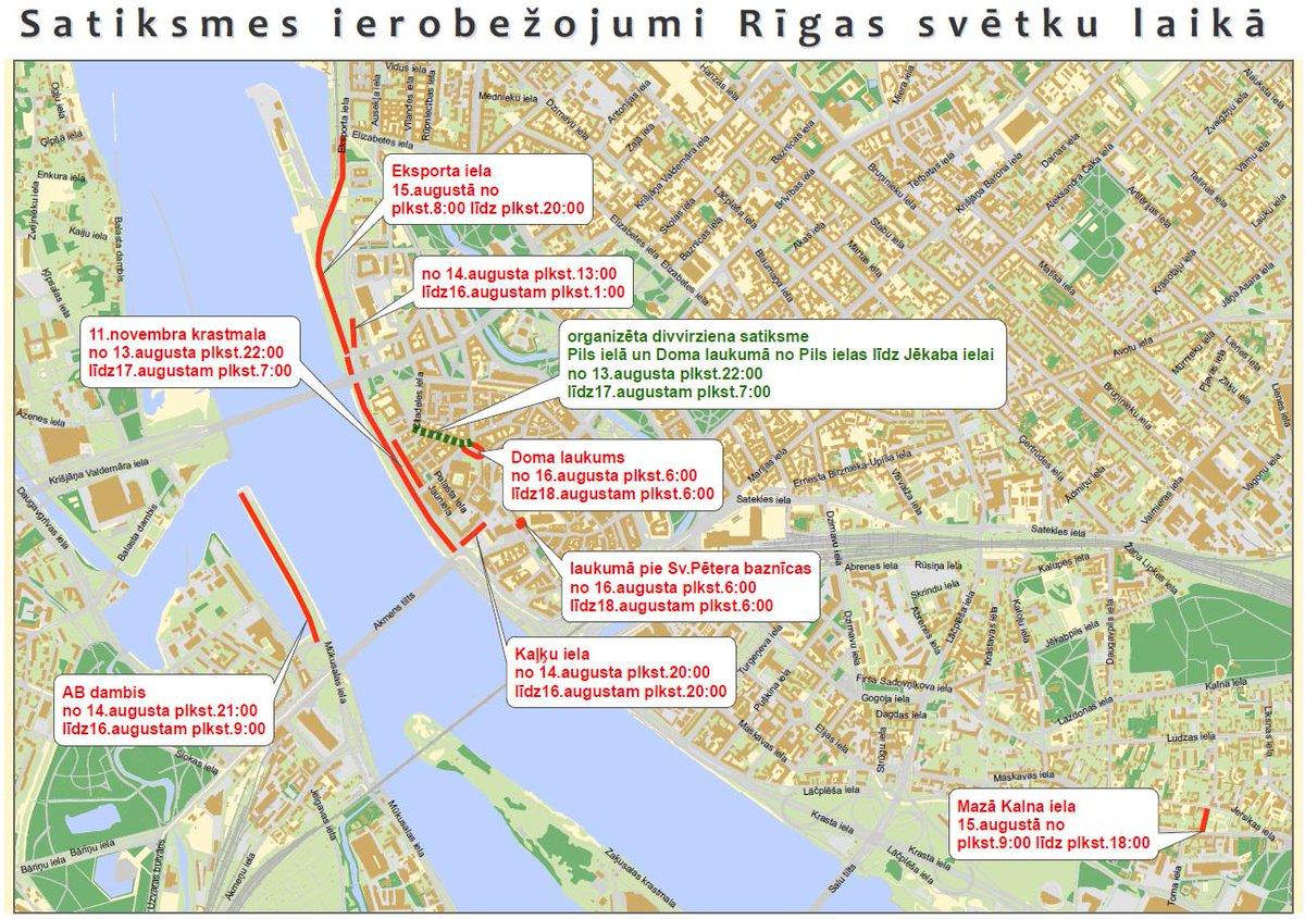 Rīgas svētku laikā būs būtiski satiksmes ierobežojumi! lai vieglāk orientēties satiksmē, šeit būs karte: http://t.co/wwTfb0ZiZy
