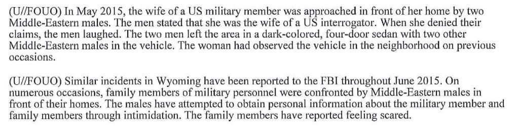FBI: Middle Eastern males hassling military families