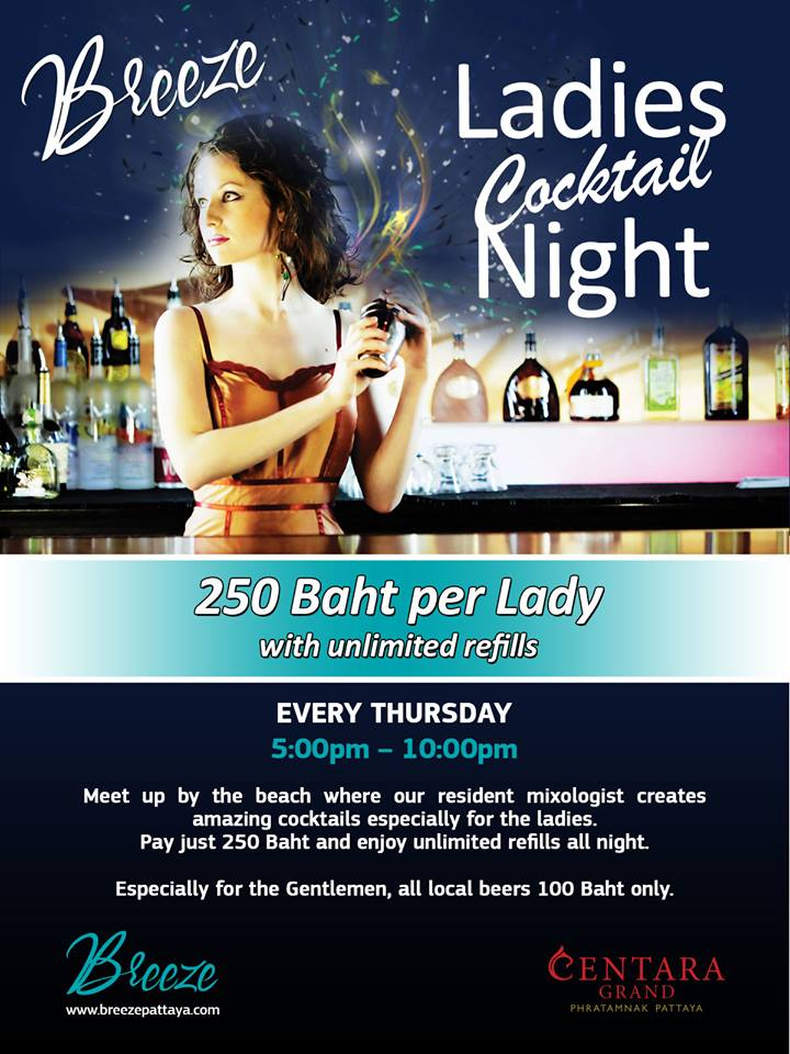 Don't forget, Thursday night is #Ladies #Cocktail Night at Breeze. #Cocktail #Promotion #Unlimited #Centara 🍹🍸🍷💃👭 http://t.co/Sh1MVm20Pz