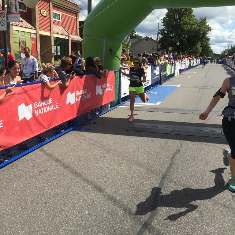 Mrs. McGillis crosses the finish line in Half Marathon in Mont Tremblant, Quebec. Yay! @PVNCCDSB #demimarathon <br>http://pic.twitter.com/7VcHxiCcdO