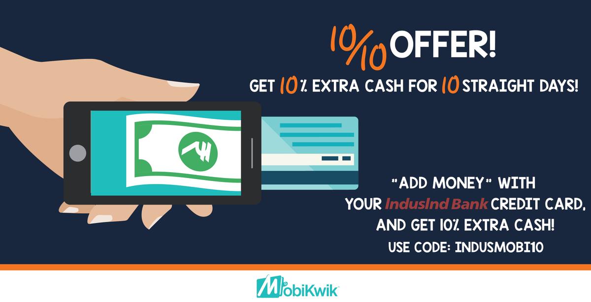 Mobikwik extra cashback on indusind credit card