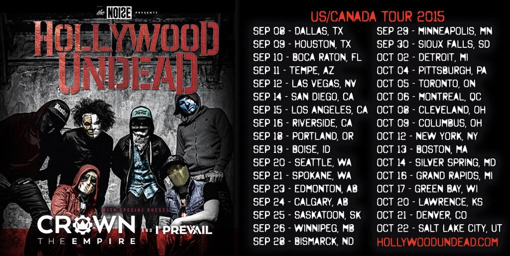 Hollywood Undead Fall 2015 Tour with Crown The Empire and I Prevail