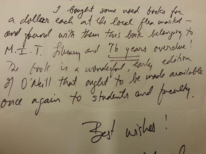 A book was returned to the MIT Libraries yesterday - 76 years overdue!  http://t.co/q6Ss7suHTL http://t.co/1CfCetPlVx