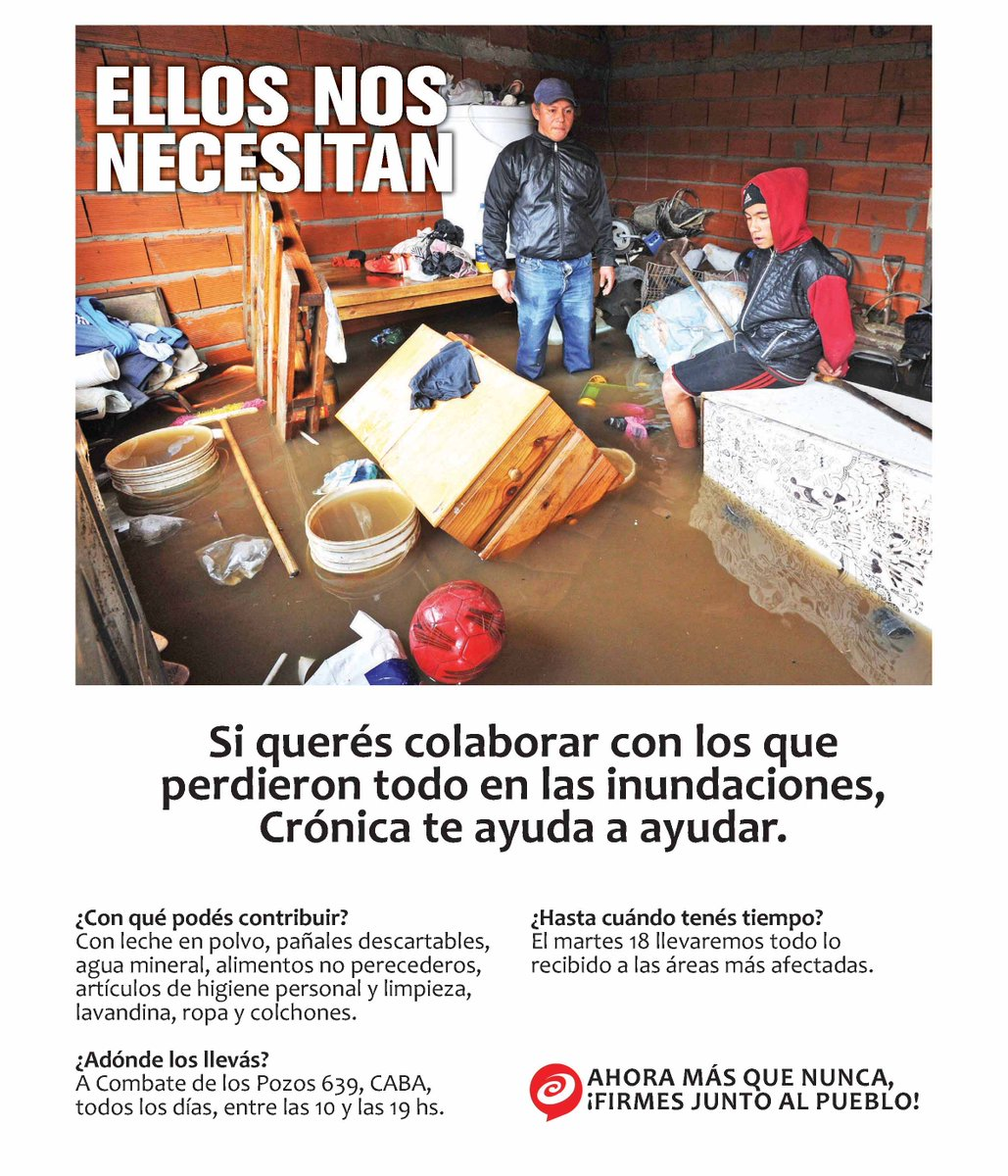 #MovidaSolidaria | Si querés colaborar con los que perdieron todo en las inundaciones, Crónica te ayuda a ayudar http://t.co/KvKsvlp6hL