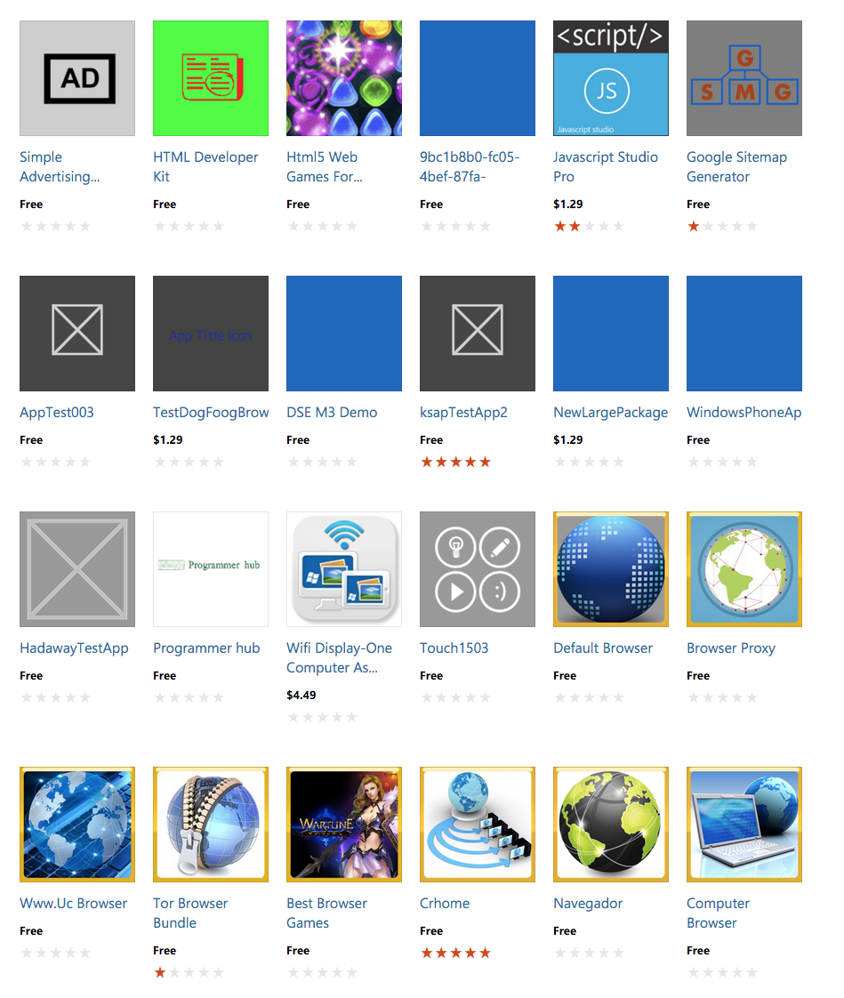 Actual apps listed on the front page of the windows store ...