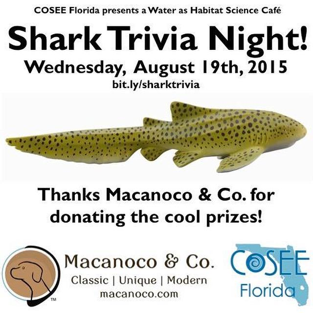 Don't miss Shark Trivia night! The zebra shark prize is one of a dozen cool prizes donated by @Macanoco. #COSEEMIA http://t.co/4EDy7pg3vf
