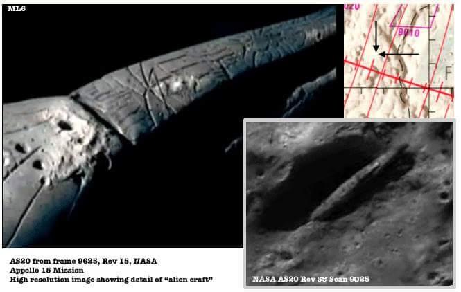 UFO sulla Luna, l'astronave extraterrestre trovata dalla missione segreta Apollo 20 della NASA.