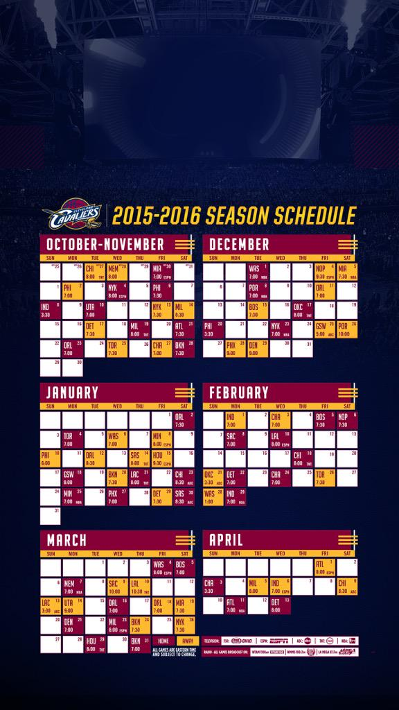 image about Cavs Printable Schedule identified as Cleveland Cavaliers upon Twitter: \