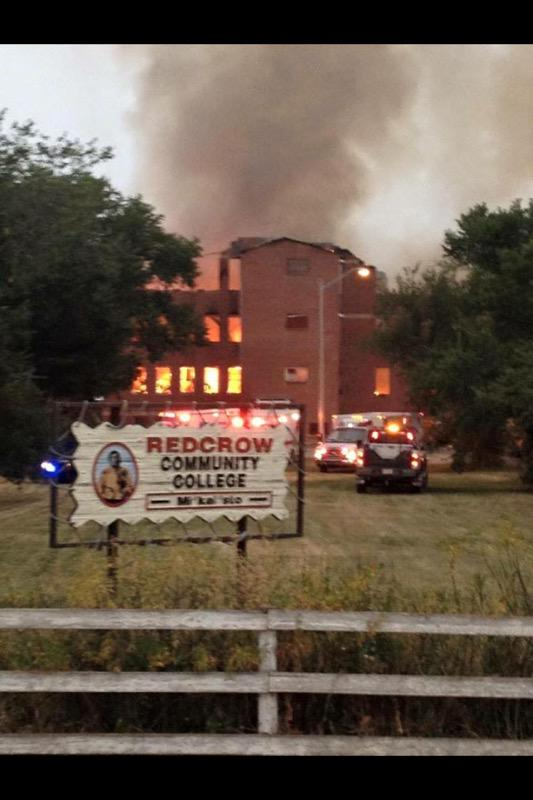 I guess this photo confirms it Red Crow College has burned down. How sad. Pic via fb http://t.co/O0xPW88i31
