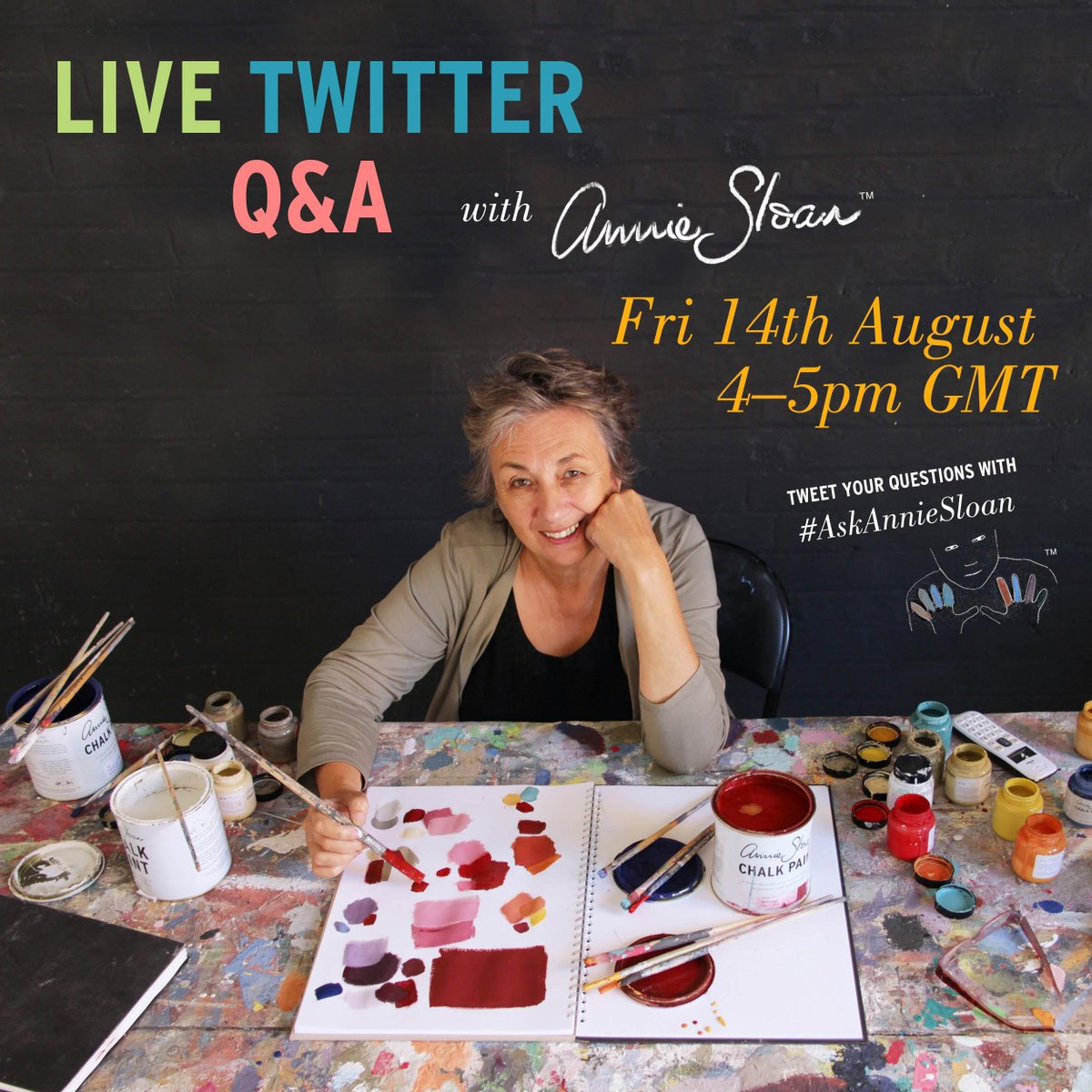Just half an hour to go! Start tweeting your questions with the hashtag #AskAnnieSloan http://t.co/ufmpV0JimP