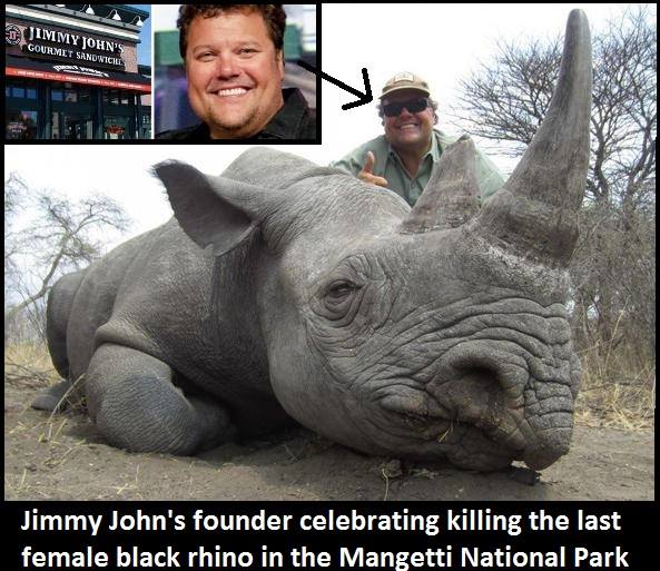 Shame this fat bastard. #JimmyJohnLiautaud just killed a critically endangered black rhino. http://t.co/HSb3ZbimWJ