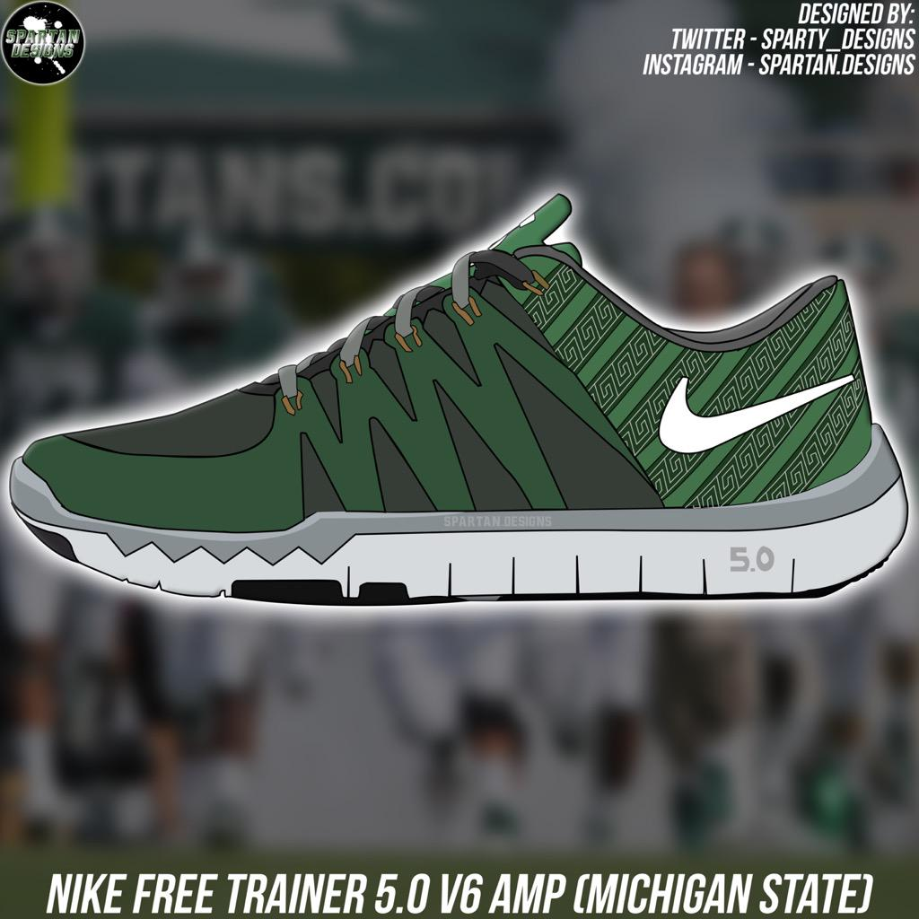 Nike Free Trainer 5.0 V6 AMP Michigan State themed shoes vector! #GoGreen  #GoWhite #ReachHigher #V4MSU #SpartanDawgspic.twitter.com/Ir22pV75Ny
