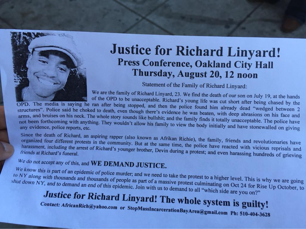 Press Conference for Richard Linyard, Killed During OPD Chase. @ City Hall Steps, Oscar Grant Plaza | Oakland | California | United States
