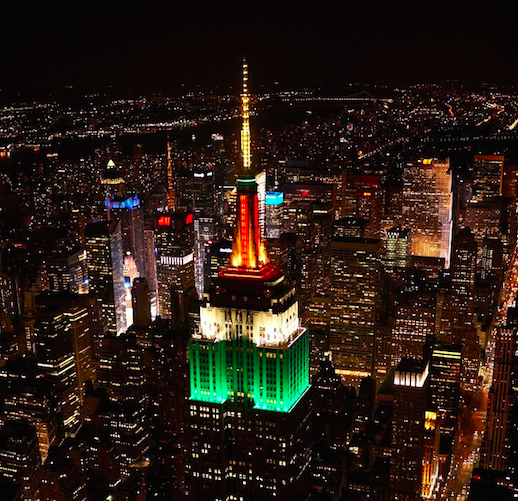 In honor of India's Independence Day and #NYC's 35th India Day Parade, our tower will glow saffron, white & green. http://t.co/PxCHenRYz4