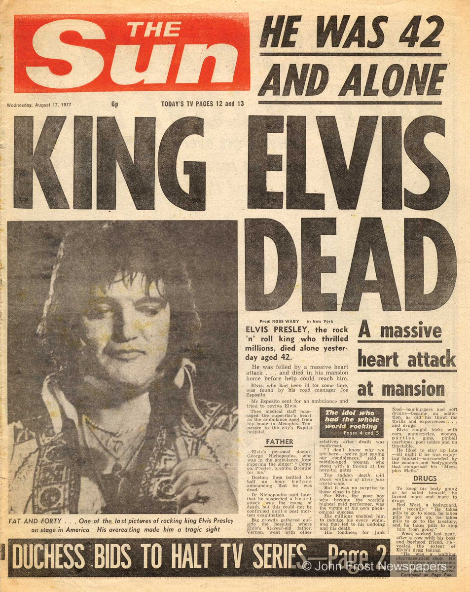 16th Aug 1977, Elvis Presley was found dead lying on the floor in his bathroom by his girlfriend Ginger Alden http://t.co/FNq4497VQt