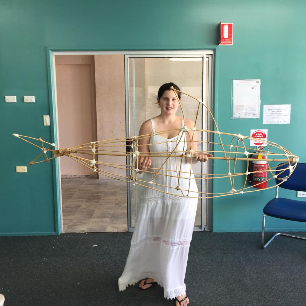 Putting together our bamboo skeleton of a shark for #animatingmackayspacesUP for #twilightcity #Mackay http://t.co/BMN6UnHCb0