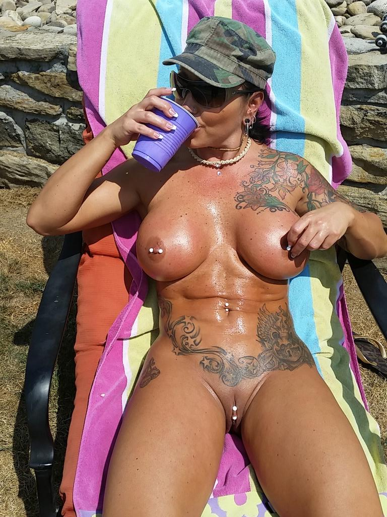 His busty mom sunbathing AND