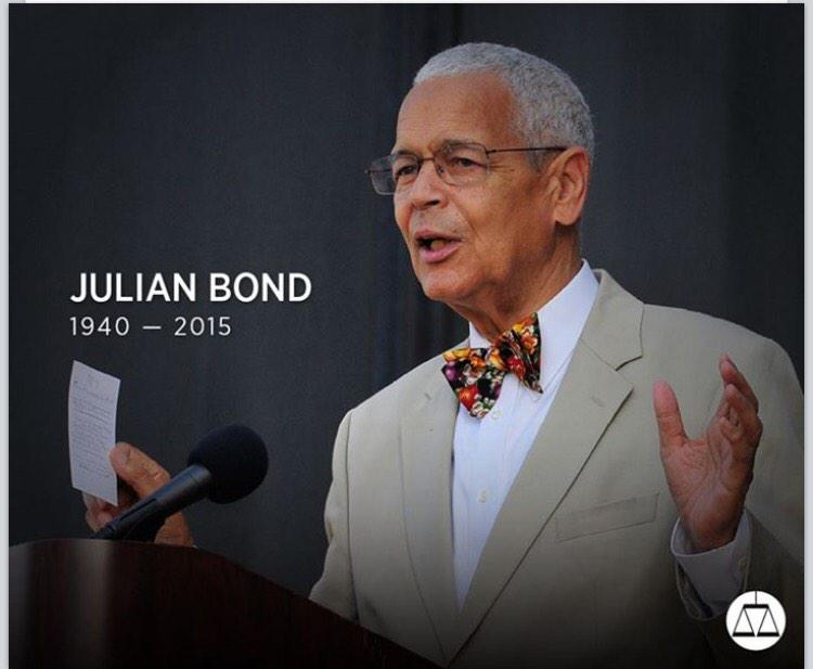 Salute Julian Bond; a tireless advocate & eloquent voice for human justice & civil rights. We'll carry the baton on! http://t.co/erFXyGFIDA