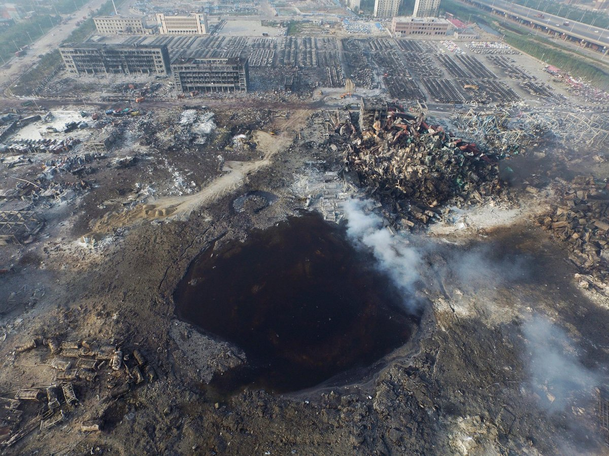 Wow. High resolution photo of the crater left by the Tianjin explosion http://t.co/7WcNnsZyXi http://t.co/DhBx0GiVML