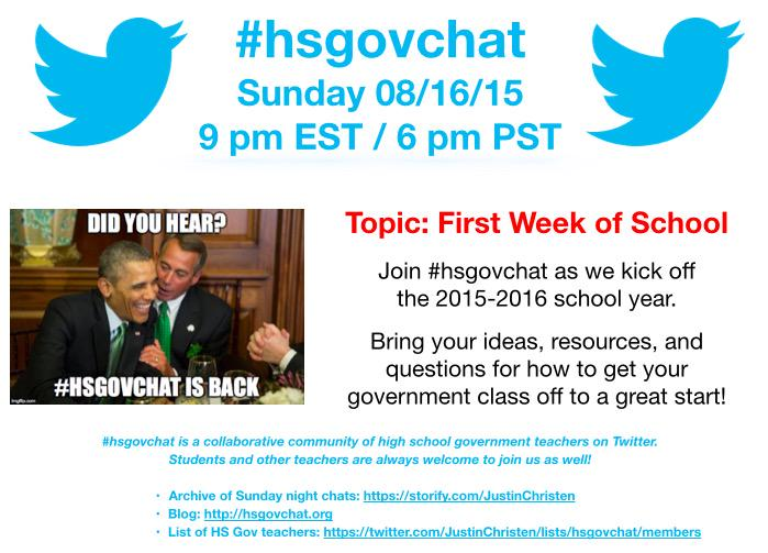 Thumbnail for #hsgovchat (08/16/15): First Week of School