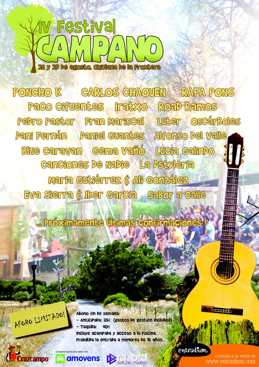 ¡OLE! Sorteazo de 2 ENTRADAS para el @FestivalCampano con una BOMBA por confirmar!Sigue al festival, a nosotros y RT! http://t.co/bn9rh6WbTF