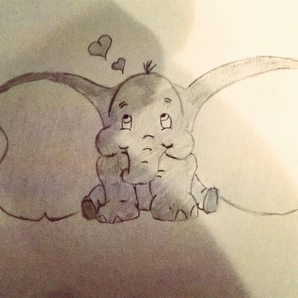 Cute Artsy Elephant Drawing
