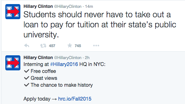 Decrying student loans right after promoting a non-paying internship takes nerve http://t.co/8WR5cFUbiX