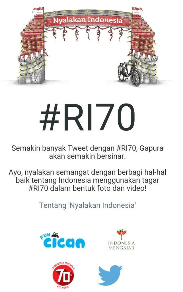 Tahukah kamu, makin banyak Tweet ber-hastag #RI70, gapura digital di http://t.co/OITp3UKce1 makin bersinar? http://t.co/Dr4hclM599