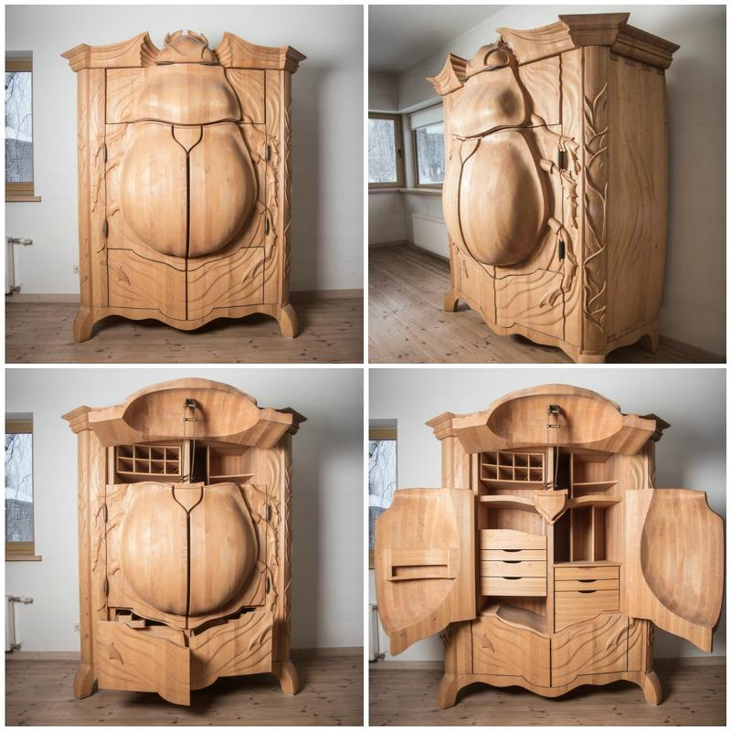 ラトビアのデザイナー、ジャニス・スカリュペが制作した甲虫型のタンス。ギミックが楽しいmarvelbuilding.com/amazing-closet… pic.twitter.com/6zuOubstd3