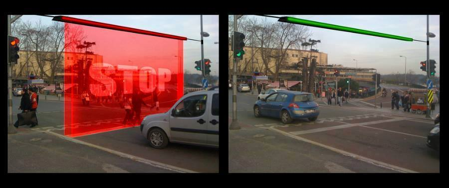 Image result for laser wall traffic light