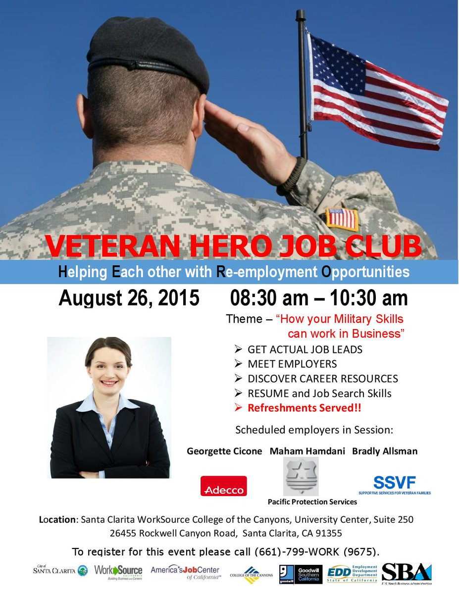 Are you a military veteran? Join us for the Veteran Hero Job Club for great employment resources! #veterans #careers