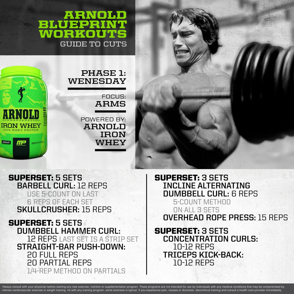 Arnold schwarzenegger chest workout blueprint berry blog musclepharm on twitter mp workout of the day arnold schwarzenegger blueprint to cut arm powered by malvernweather Gallery
